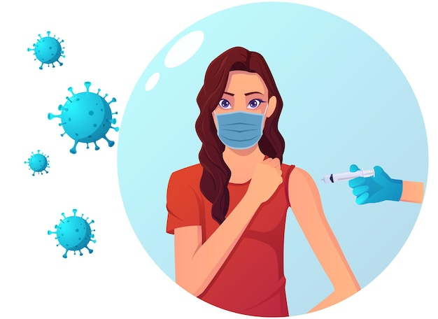 Vaccination for protection against virus illustration. covid prevention with vaccine, shield bubble, and coronavirus