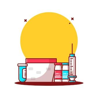 予防接種スケジュール漫画のベクトルイラスト。医学と予防接種のアイコンの概念