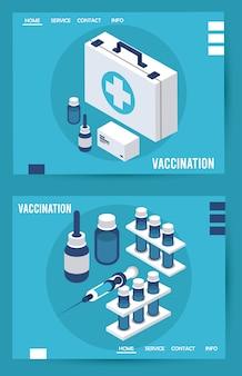 医療キット等尺性のアイコンとワクチン接種サービス