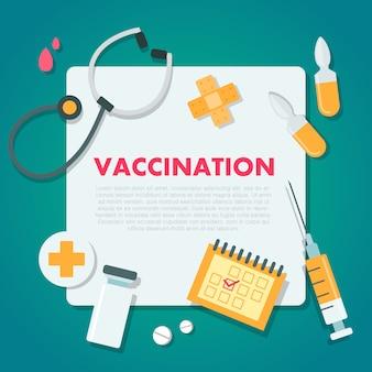 Шаблон вакцинации. медицинский документ с лекарством и оборудованием.