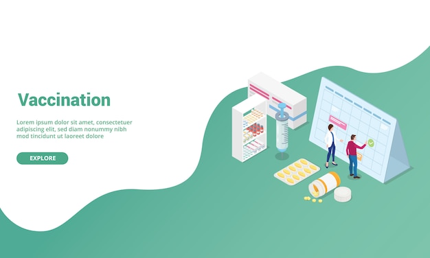 Vaccination time  isometric for website template or landing homepage banner
