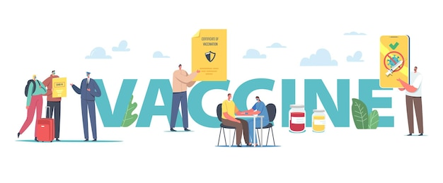Vaccination for travelers, covid immune medical certificate concept. male and female characters getting vaccine for health passport in airport poster, banner flyer. cartoon people vector illustration
