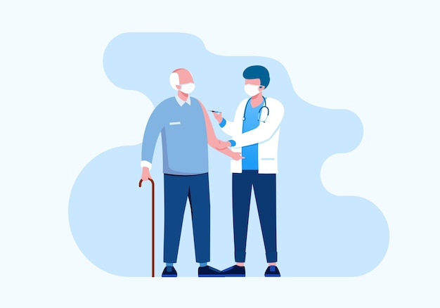 Vaccination with doctor flat vector illustration for banner landing page