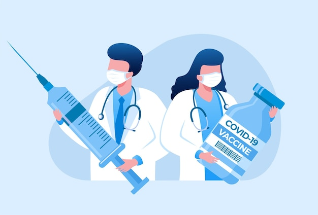 医者とワクチン接種フラットベクトルイラストバナーテンプレート