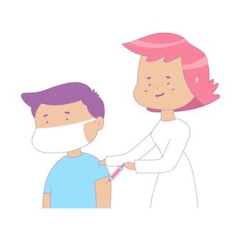 Иллюстрация концепции шаржа прививок с доктором и пациентом в маске.