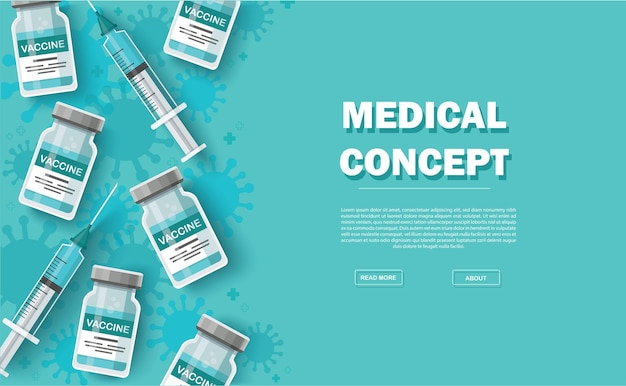 ワクチンの背景。予防接種の概念。ヘルスケアと保護