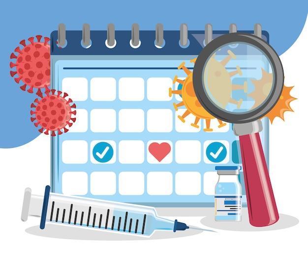 Vaccine calendar syringe