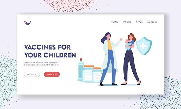 Vaccine for children landing page template. immunity health care. mother bring little baby to hospital for vaccination and immunization procedure. doctor with syringe shot. cartoon vector illustration