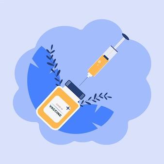Vaccine covid19 syringe illustration
