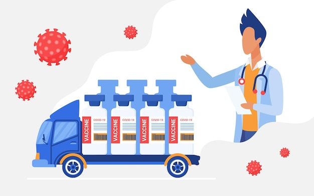 Vaccine delivery courier track delivering medical vaccine bottles first aid logistics