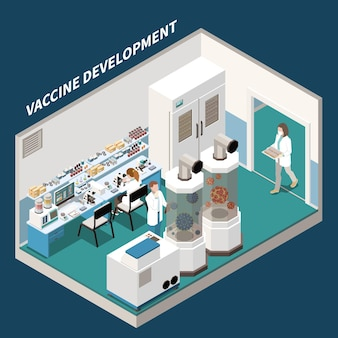 Sviluppo del vaccino isometrico con scienziati impegnati nella ricerca scientifica e negli esperimenti in laboratorio di illustrazione della medicina sperimentale