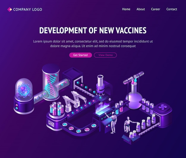 Vaccine development laboratory isometric landing