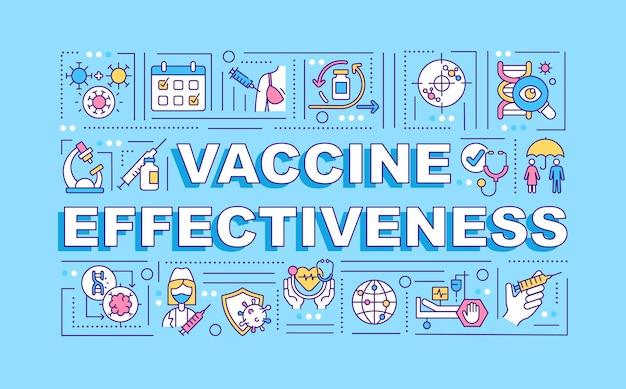 Баннер концепции слова эффективность вакцины