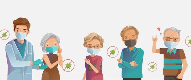 ワクチン高齢者。インフルエンザとcovid-19ワクチン。高齢者マスクグループ注入。医者は注射ワクチン接種の老婆を保持しています。