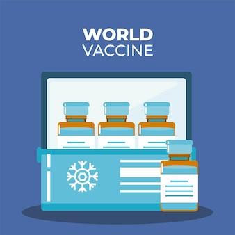 예방 접종 캠페인 일러스트레이션을위한 냉장고의 바이알 백신