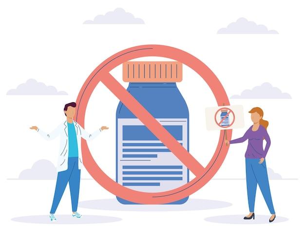 항의하는 백신 주저 여성과 의사