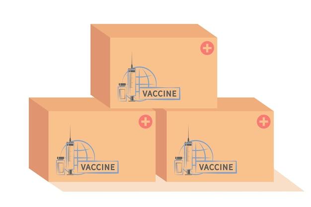 全世界に配達または配布する準備ができている箱に入ったワクチン