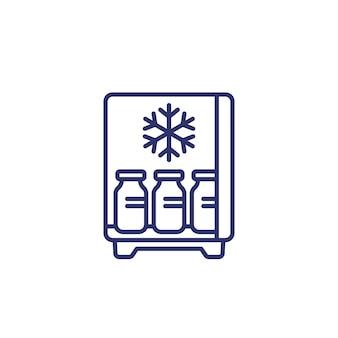 冷蔵庫のラインアイコンのワクチン