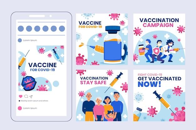 Raccolta di post su instagram sui vaccini Vettore gratuito
