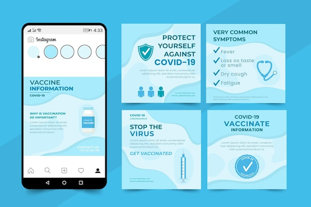 Vaccine instagram post set flat design