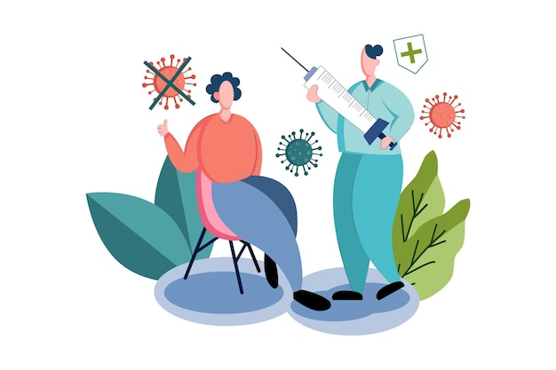 Vaccine medical web illustration