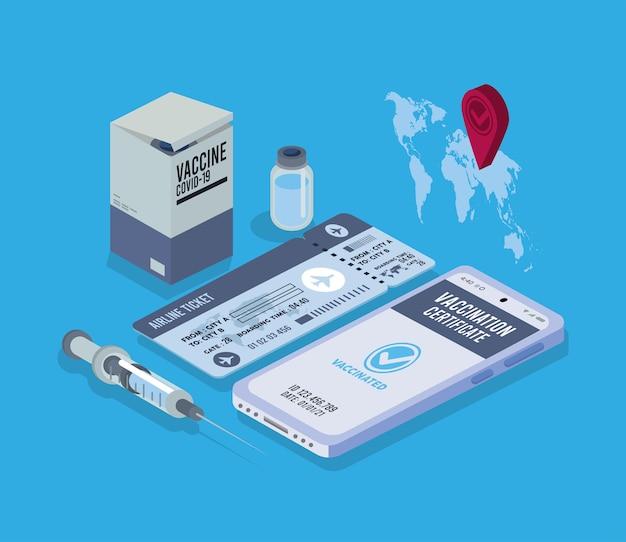 ワクチンのパスポートと旅行のアイコン