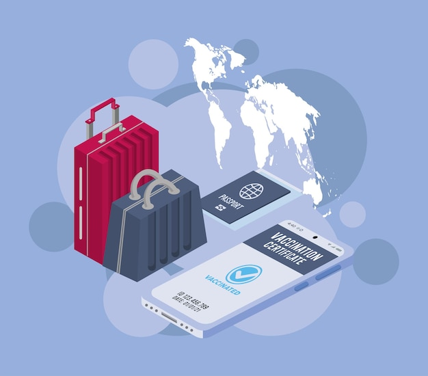 Vaccine passport and traveling icons