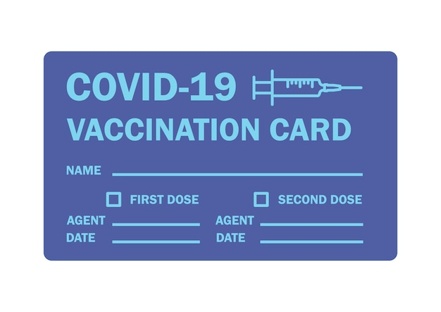 Vaccine passport. vaccination certificate or card against covid-19. document to show that a person has been vaccinated with the covid-19 vaccine. vector blue color illustration