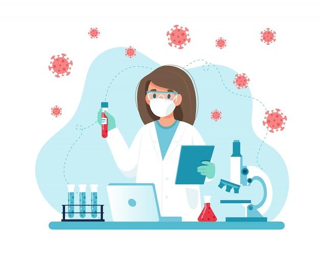 Исследование вакцин, женщина-ученый проводит эксперименты в лаборатории