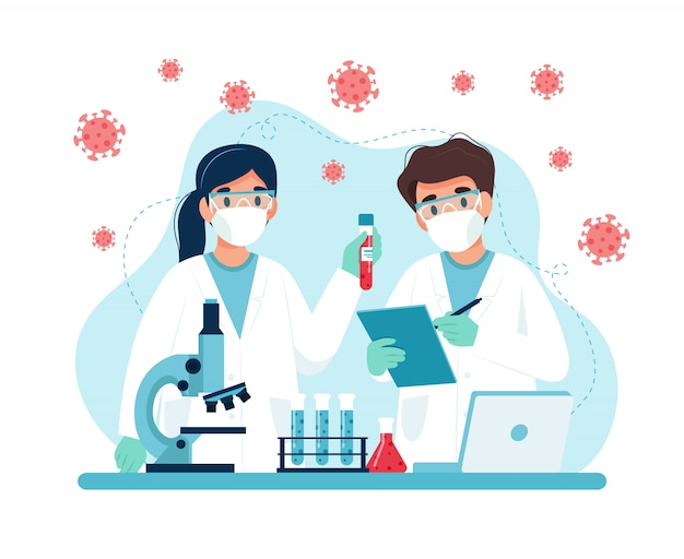 Исследования вакцин, ученые проводят эксперименты в лаборатории.