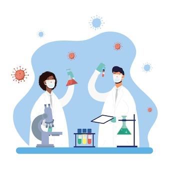 異人種間のカップル医師文字ベクトルイラストデザインとワクチン研究