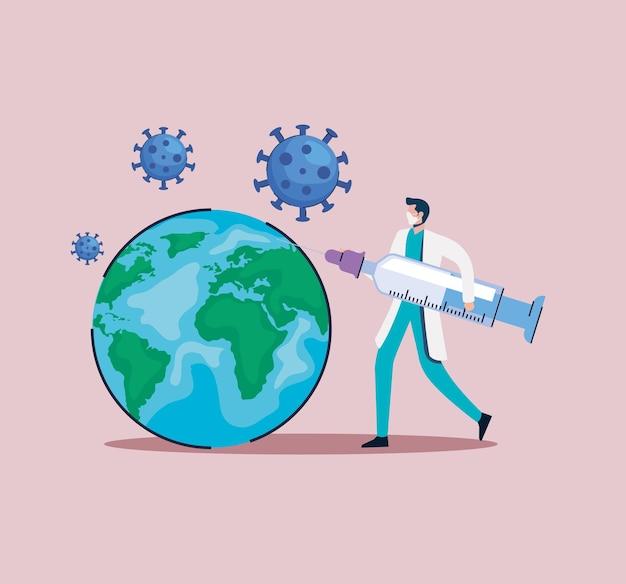 医者と地球惑星のイラストとワクチン注射器