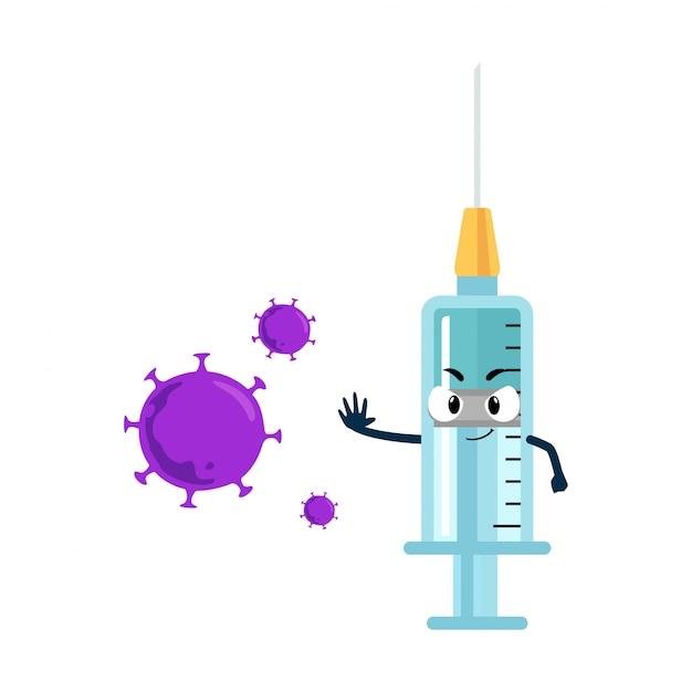 Vaccine syringes character againts coronavirus
