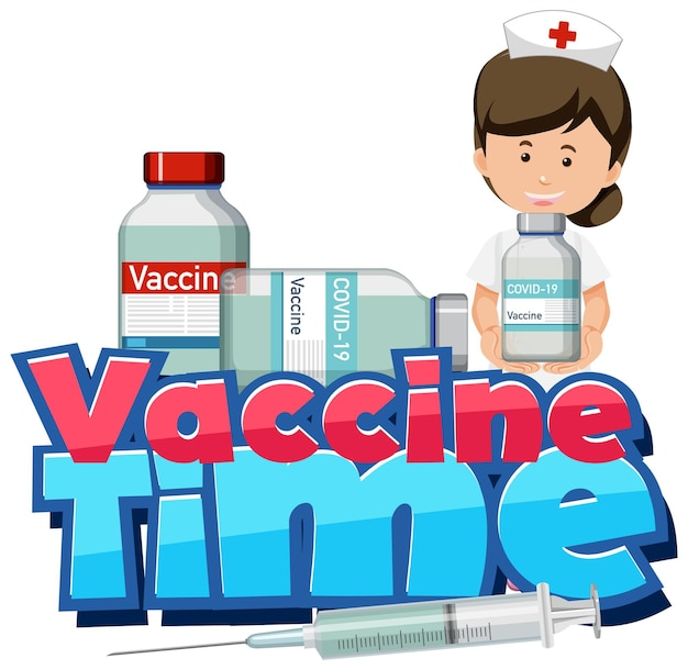 Covid-19ワクチンボトルを保持している看護師とワクチンタイムフォント