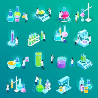 Vaccines development set of isometric icons with scientists and lab equipment isolated on green
