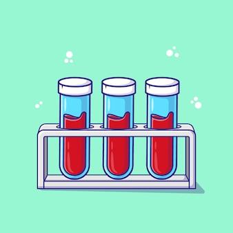 Vacutainer 튜브 혈액 만화 벡터 일러스트 레이 션. 의료 개념 격리 프리미엄 벡터입니다.