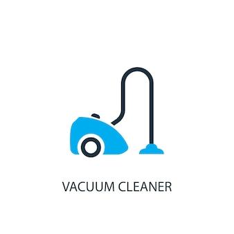 掃除機のアイコン。ロゴ要素のイラスト。 2色のコレクションから掃除機のシンボルデザイン。シンプルな掃除機のコンセプト。 webおよびモバイルで使用できます。