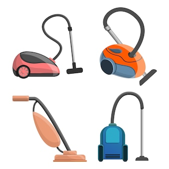 Vacuum cleaner icon set, cartoon style