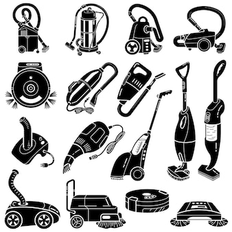 Vacuum cleaner icons set, simple style