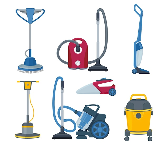 Vacuum cleaner. modern automatic electrical gadgets for cleaning service  cartoon set.
