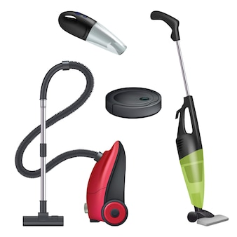 Vacuum cleaner. realistic equipment for cleaning service modern automatic cleaner  collection.