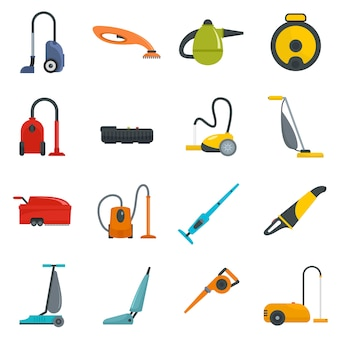 Vacuum cleaner washing icons set
