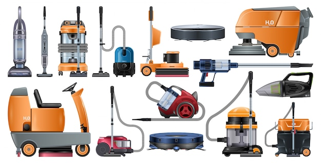 Vacuum cleaners realistic set icon.  illustration cleaning hoover on white background.  realistic set icon vacuum cleaners .