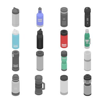 Vacuum insulated water bottle icons set, isometric style