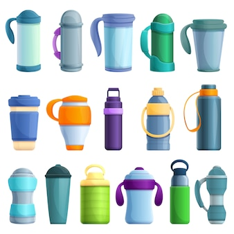 Vacuum insulated water bottle set, cartoon style