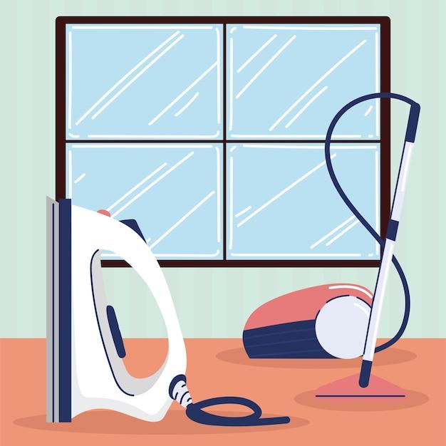 Vacuum and iron laundry appliances