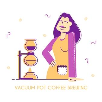 真空ポットまたはサイフォンコーヒー製造の概念 Premiumベクター