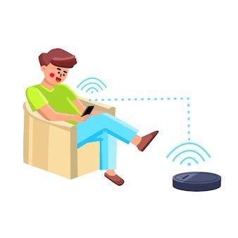 전화 앱 벡터로 제어하는 진공 로봇 남자. 안락의자에 앉아 스마트폰 응용 프로그램으로 진공 로봇을 제어하는 어린 소년. 캐릭터와 전자 기술 플랫 만화 일러스트 레이션