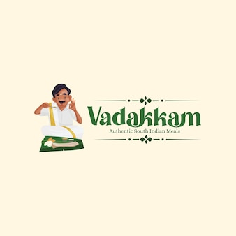 Vadakkam 남쪽 인도 식사 벡터 마스코트 로고 디자인 서식 파일