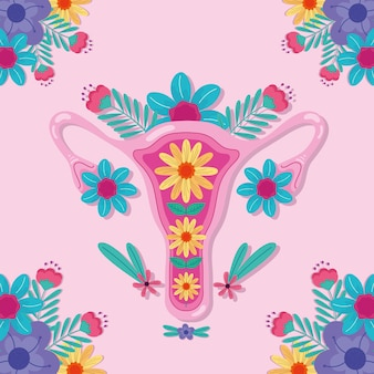 花のイラストと膣